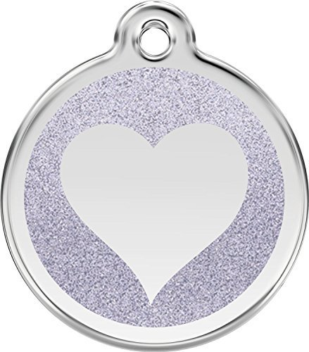 Red Dingo Stainless Steel with Glitter Pet I.D. Tag - Heart (silver, medium)