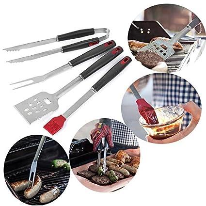 Kobwa - Juego de herramientas para barbacoa, 4 parrillas de acero inoxidable para utensilios de
