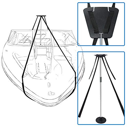iCOVER Boat Cover Support Pole System-Height Adjustable Aluminum Telescoping Pole and 56 Feet Long Webbing Strap to Prevent Water from Sagging, Pooling, Ponding. Pontoon Boat Needs Two Systems ()