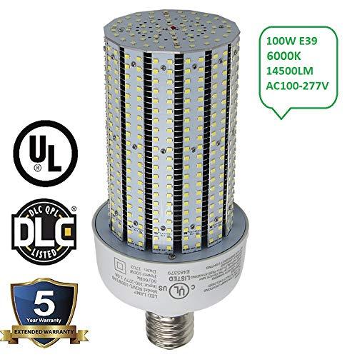 100 Watt LED Corn Cob Light Replace 400W Metal Halide E39 Mogul Base 6000K Daylight 13442Lm Parking Lot Street Wall Pack Fixtures High Bay Fixture AC90-277V (400 Watt Metal Halide Parking Lot Lights)