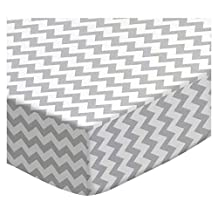 SheetWorld Fitted Oval (Stokke Mini) - Grey Chevron Zigzag - Made In USA - 58.4 cm x 73.7 cm ( 23 inches x 29 inches)