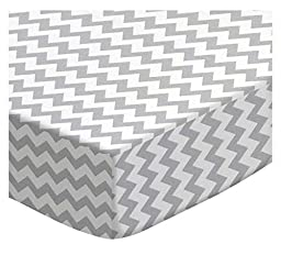 SheetWorld Fitted Bassinet Sheet - Grey Chevron Zigzag - Made In USA