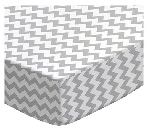 SheetWorld Fitted Cradle Sheet - Grey Chevron Zigzag - Made In USA
