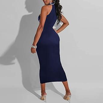 Zottom seksowna sukienka damska, bez rękawÓw, ze strasem, na imprezę: Odzież
