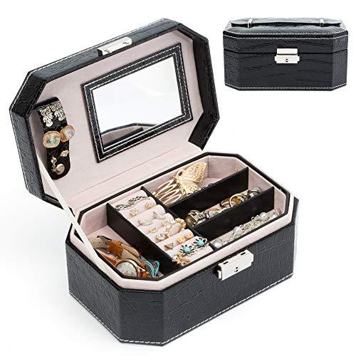 MICOM Jewelry Box Organizer Alligator Leather Jewelry Display Storage Case with Lock and Handle (Black) (Alligator Box)