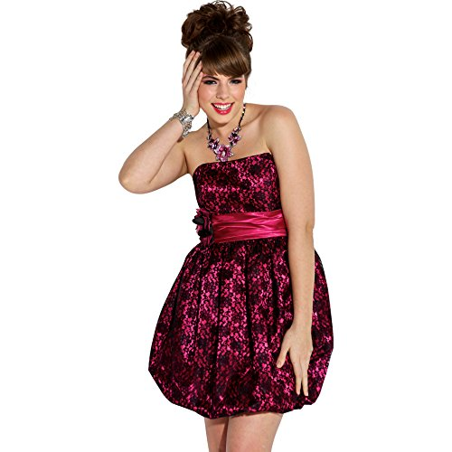 Black Strapless Bubble Dress - Strapless Lace Satin Bubble Prom Homecoming Party Dress, Large, Black-Fuchsia