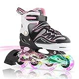 Kuxuan Girl's Cira Adjustable Kids Inline Skate with Light up Wheels Pink M