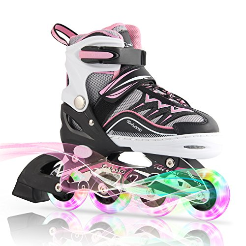 Kuxuan Girl's Cira Adjustable Kids Inline Skate with Light...