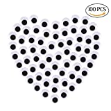 Decora 100pcs 18mm Round Wiggly Wobbly Googly Eyes Self-adhesive Peel Sticker