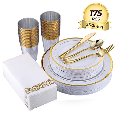 FOCUS LINE 175PCS Gold Disposable Dinnerware Sets for Party Wedding 25 Guests Dinner Plastic Plates Dessert Plates & Plastic Silverware Set & Cups & Napkins (Dinner Christmas For Dessert)