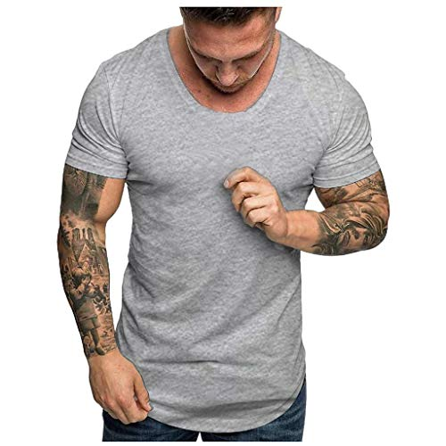 2019 New Slim Fit T-Shirt, vermers Men's Summer Slim Fit Casual O-Neck Short Sleeve Breathable Tops - 17 Color Gray ()