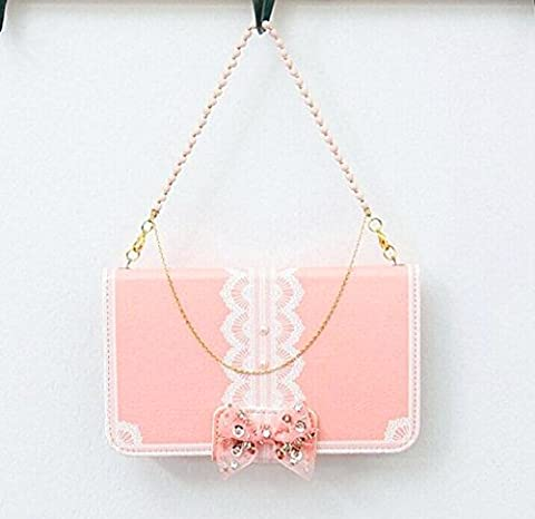 Pearl Bowknot 3d Cute Crystal Bling rhinestone pink Pearl Bowknot Bow Girl Cute lovely Handbag Leather Wallet Card Strap Case Cover For LG L90 LG Optimus Exceed 2 W7 Phone D410 D405 (Lg D415 Phone Case For Girls)
