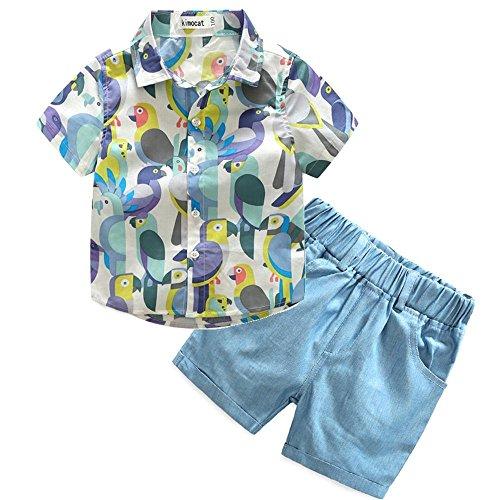 (Boys Clothing Short Sets 2Pcs Plaid Shirt Button-Down Tops and Casual Short Pants (6T, Light Blue))