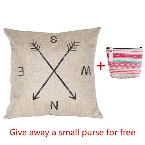 Iuhan Fashion Compass Linen Throw Pillow Case Cushion Cover Home Decor+Wallet ()
