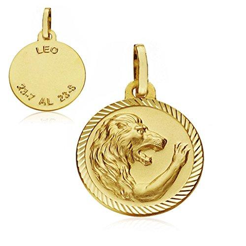 Médaille pendentif 16mm or 18k horoscope Leo. signe du zodiaque [AA7413]
