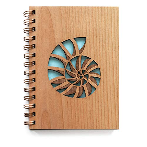 Nautilus Shell Laser Cut Wood Journal (Notebook/Birthday Gift / 5th Anniversary/Gratitude Journal/Handmade)
