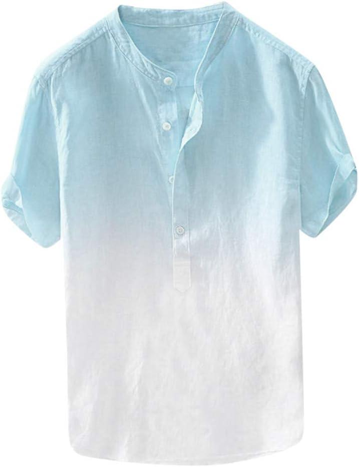 Briskorry 2020 - Camisa de lino para hombre de manga corta ...