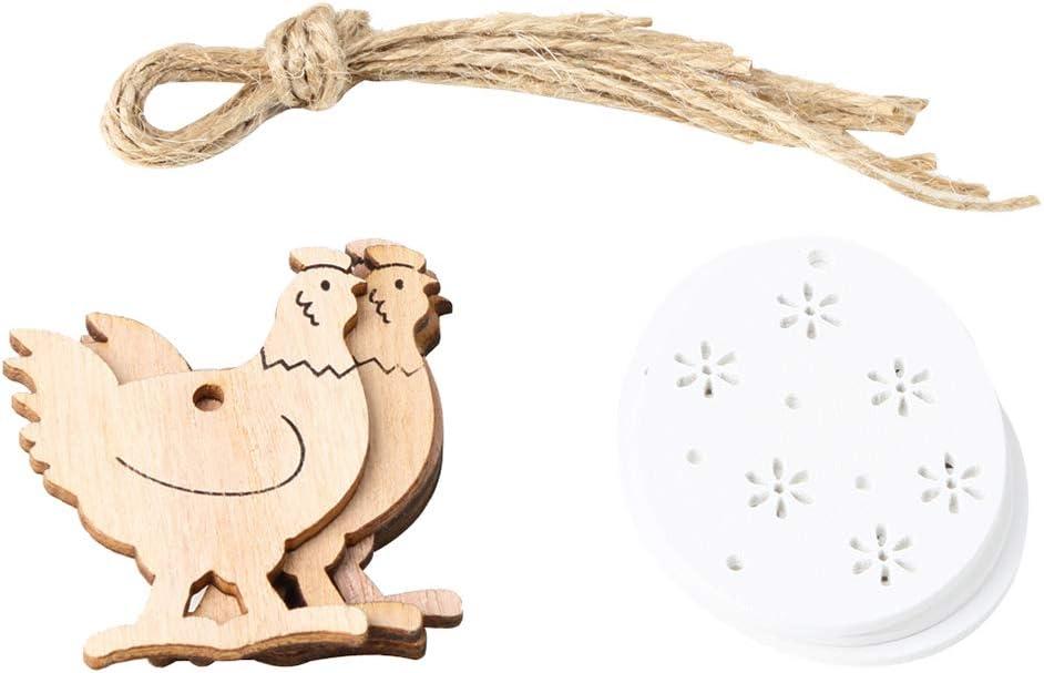 NAttnJf 8 Piezas de Madera del Huevo del Gallo de Pascua en casa decoración de Ornamento de Vacaciones con Cuerda