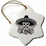 3dRose Carsten Reisinger - Illustrations - Cool Hola Bitchachos Mexican Sombrero Skull Guns Hipster - 3 inch Snowflake Porcelain Ornament (orn_261548_1)