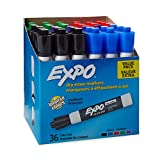 EXPO Low Odor Dry Erase Markers, Chisel Tip, Assorted Colors, 36 Pack