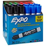 EXPO Low-Odor Dry Erase Markers, Chisel Tip, Assorted Colors, 36-Count