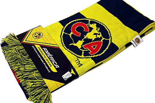Club Soccer Scarf - CA Club America Authentic Official Licensed Product Soccer Scarf (Yellow Bar)