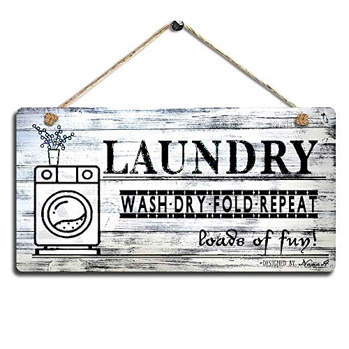 Smarten Arts Vintage Laundry Wood Sign Printed Wall Hanging Plaque Wash Dry Fold Repeat Wall Art Sign Size 11.5