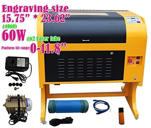 INTBUYING 110V Laser Engraving Machine Laser Cutting Machine 60W 4060 Carving Tools Artwork (60W, black and yellow)
