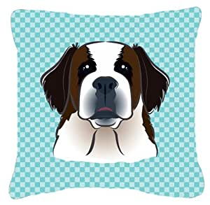 "Caroline's Treasures BB1184PW1818 Checkerboard Blue Saint Bernard Decorative Pillow, 18"" x 18"", Multicolor"