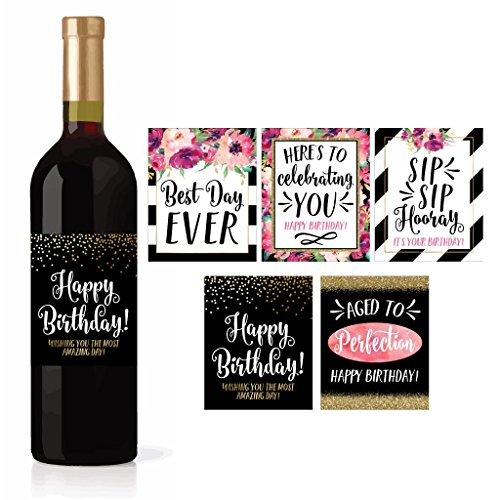 5 Birthday Wine Bottle Labels or Stickers Present, Bday Milestone Gifts For Her Women, Any Age Years Funny Unique Old Chic Pink Black Gold Party Decoration Centerpiece Supplies For Wife, Mom, Friend