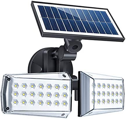 Super Bright Outdoor Solar Light 20W 600LM, Motion Sensor Security Light 360 Rotatable, IP65 Waterproof LED Spotlight with Dual Adjustable Head for Garden Yard Garege Patio Porch Entryways Pathway