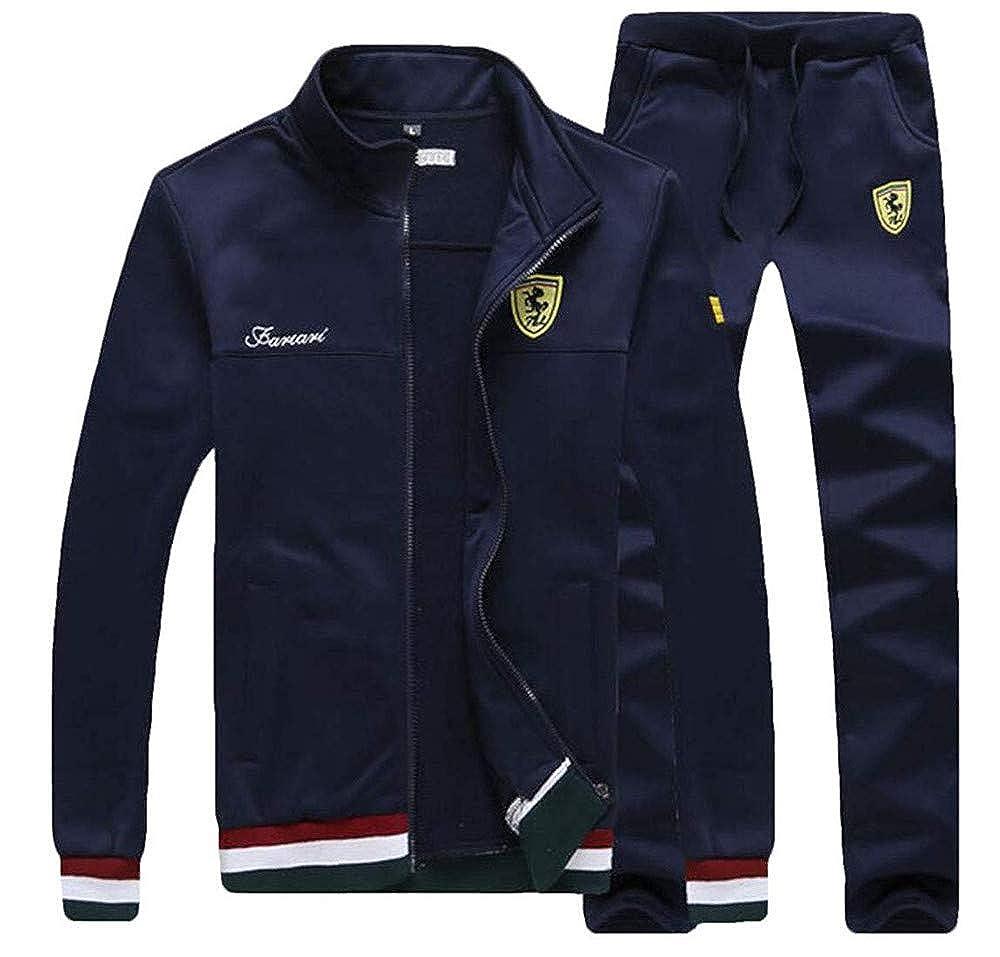 Darkblueee USMedium Lookasdasd Mens 2 Pieces Stand Collar Jacket with Pants Tracksuit Outfit Set