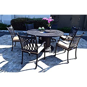 tuscan outdoor furniture amazoncom propane fire pit table set grill cast aluminum patio