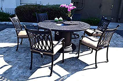 Propane Fire Pit Table Set Grill Cast Aluminum Patio Furniture Grand  Tuscany Outdoor Dining Chairs.