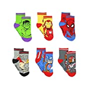 Super Hero Adventures Avengers Boys 6 pack Socks with Grippers (12-24 Months, Multi)