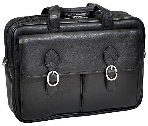 McKlein USA Genuine Leather 15.4'' Double Compartment Laptop Briefcase-Black by McKleinUSA