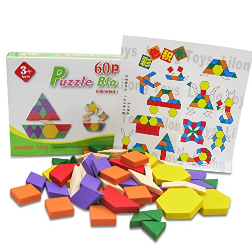 TOAOB Wooden Pattern Blocks and Boards Toys Activity Kit 60pcs