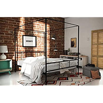 Amazon Com Dhp Modern Canopy Bed Frame Classic Design Queen Size