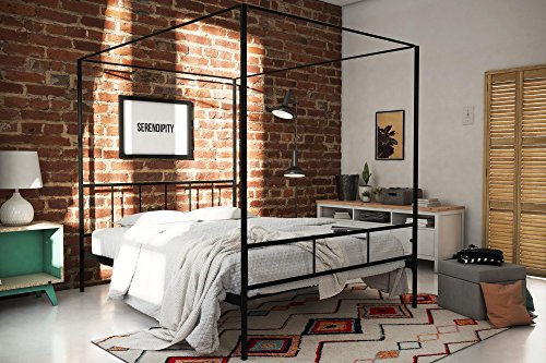 Novogratz Marion Canopy Bed Frame, Black, Queen ()