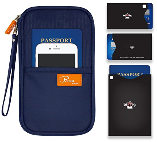P.travel Passport wallet Oxford Navy with RFID Stop by P.travel