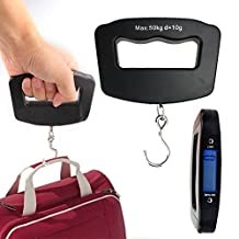 Azmall LCD Digital Luggage Scale Portable Travel Suitcase Scale Fish Hanging Weight Electronic Scale With Metal Hook Black
