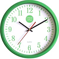 "Office + Style 13"" Silent Quartz Wall Clock with Anti-Scratch Cover- Green"