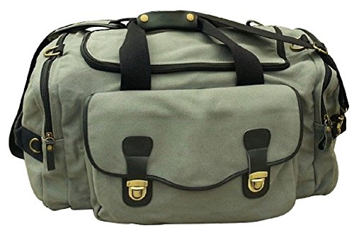 Oversized Canvas Duffel Bag, Grey, Genuine Leather, Brass Fittings, Military Style, Weekender … by MODERN CELEBRATIONS