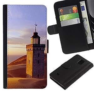 KingStore / Leather Etui en cuir / Samsung Galaxy S5 Mini, SM-G800 / Naturaleza Lighthouse Beach