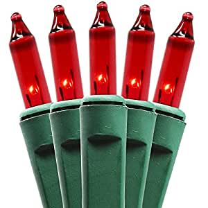 "Holiday Essence 140 Red Musical Twinkle Christmas Lights Indoor Lights Plays 25 Classical Holiday Songs, 8 Function Chaser Green Wire 26 Foot Wire Length, 2"" Space Between Bulbs, UL Listed"