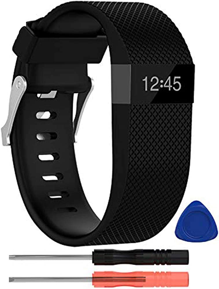 Metal Buckle Fitness Wristband Large Small 3-Pack Sport Strap for Women Men Soft Silicone Replacement Band for Fitbit Charge 2 KingAcc Compatible Fitbit Charge 2 Bands