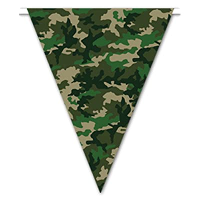 Camo Flag Pennant Banner Party Accessory (1 count) (1/Pkg): Toys & Games