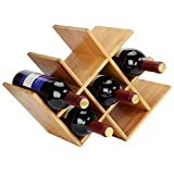 SortWise ® Natural Bamboo Wine Rack 8-Bottles Countertop, Butterfly Shaped Wine Holder Wine Horizontal Storage Rack, Compact Design, Perfect for Bar, Wine Cellar, Basement, Cabinet, Pantry