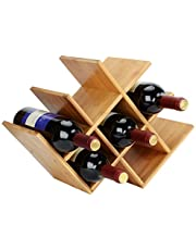 SortWise Butterfly Wine Rack, 8 Bottle Countertop Wine Horizontal Storage Rack, Compact Design, Natural Bamboo Finish