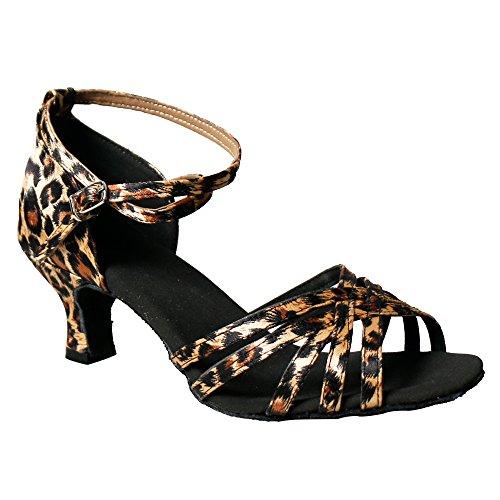 YFF Woman Latin Dance Shoes Satin Sandals Ladies Social Party Leopard